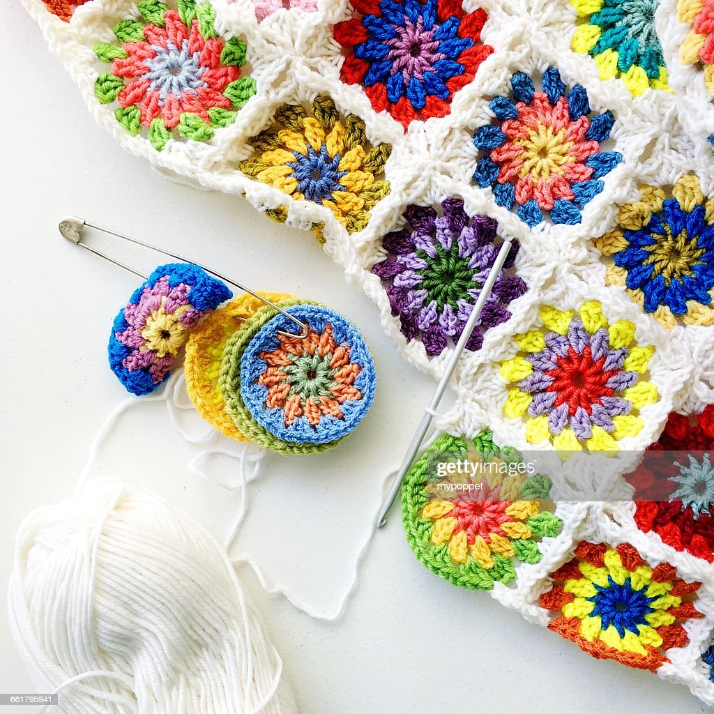 Close-up of crochet blanket : Stock Photo