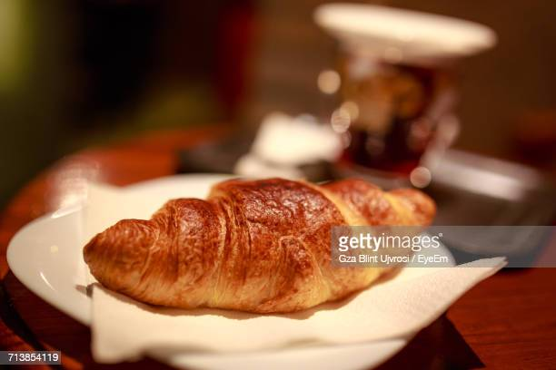 Close-Up Of Croissant Served In Plate