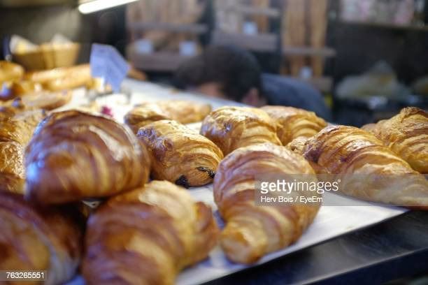 Close-Up Of Croissants In Bakery