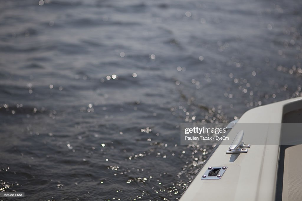 Close-Up Of Cropped Boat In River : Stock Photo