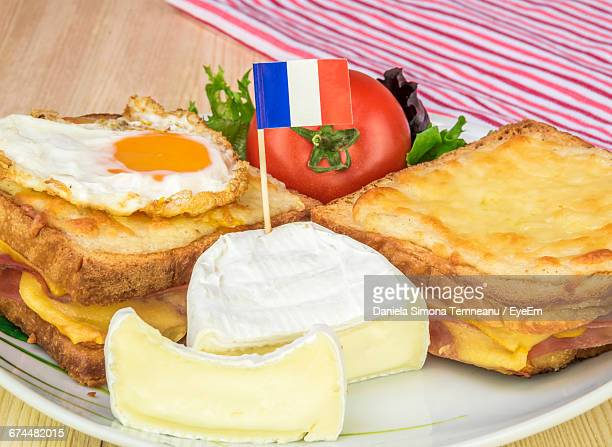 Close-Up Of Croque Madam And Croque Monsieur