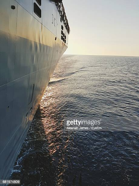 Close-Up Of Cruise Ship On Sea Against Clear Sky