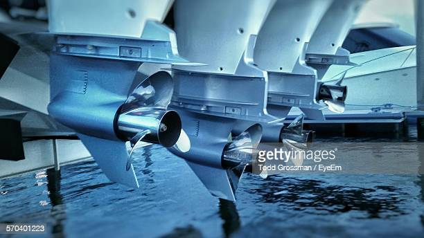 Close-Up Of Cruise Ship Propellers On Sea
