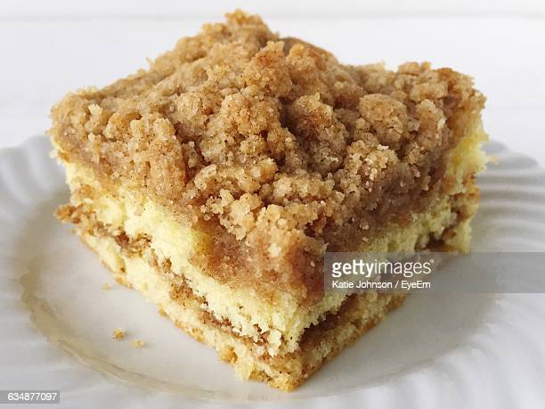 Close-Up Of Crumb Coffee Cake Served In Plate
