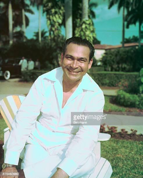 Closeup of Cuban General Fulgencio Batista in civilian clothes