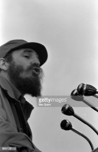 Closeup of Cuban military and political leader Prime Minister Fidel Castro as he speaks from a podium in la Plaza de la Revolucion during the 10th...