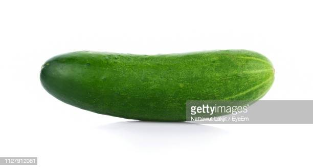 close-up of cucumber against white background - pepino fotografías e imágenes de stock
