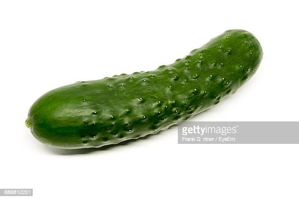 Close-Up Of Cucumber On White Background