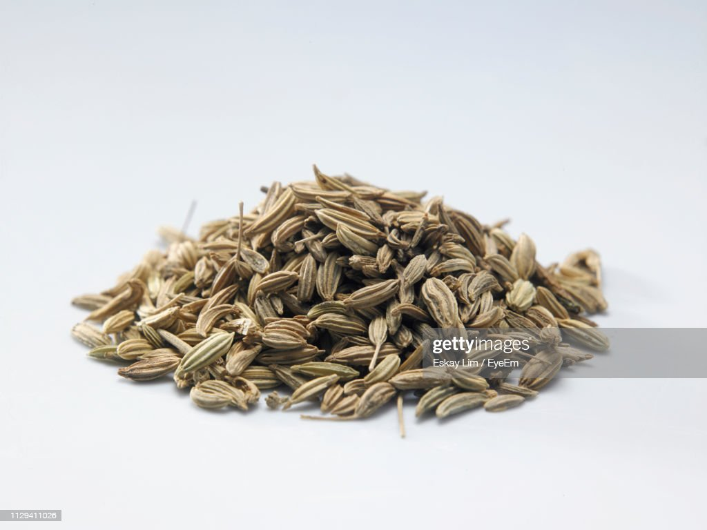 Close-Up Of Cumin Seeds Over White Background : Foto de stock