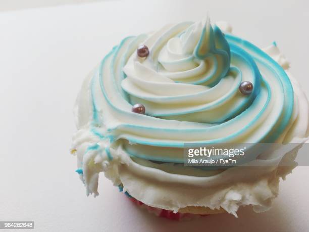 Close-Up Of Cupcake Against White Background