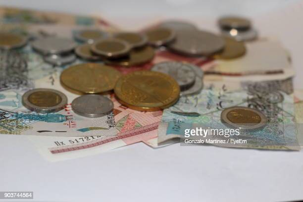 Close-Up Of Currency On Table