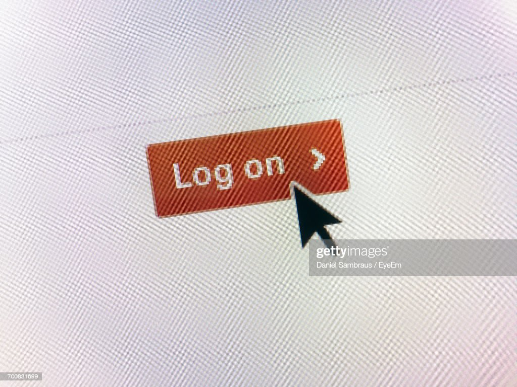 Close-Up Of Curser On Log On Icon : Stock Photo