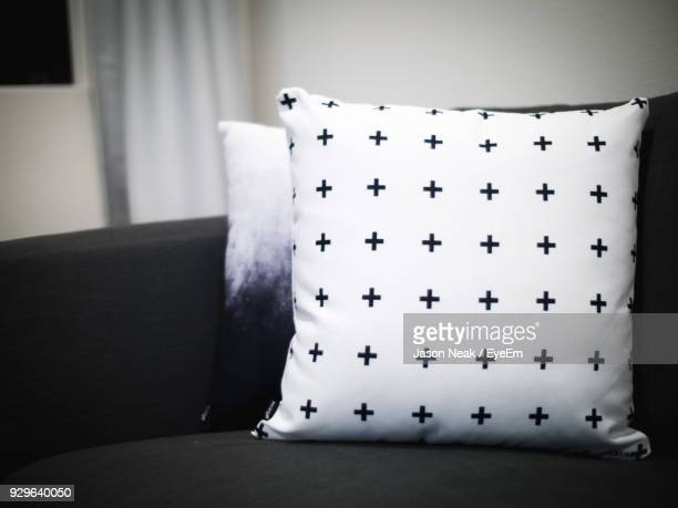 close-up of curtain on sofa at home - cushion stock photos and pictures