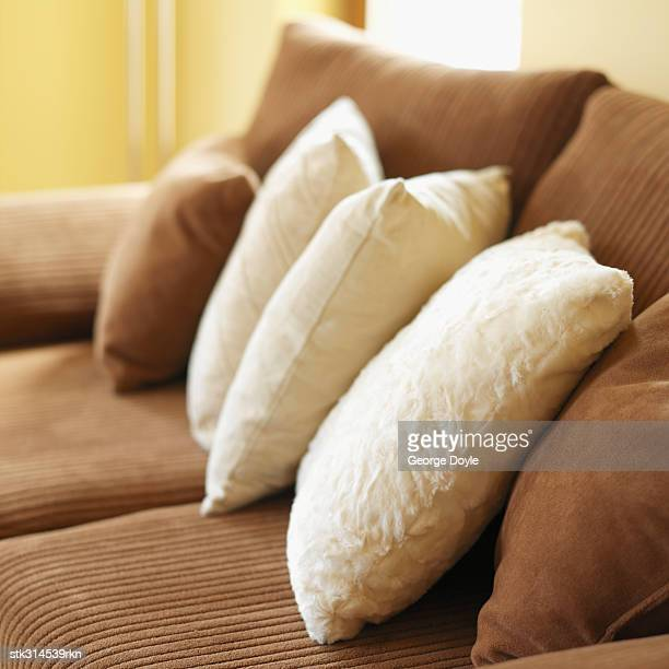 close-up of cushions on a couch