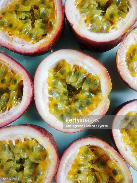 Close-Up Of Cut Passion Fruits In Plate