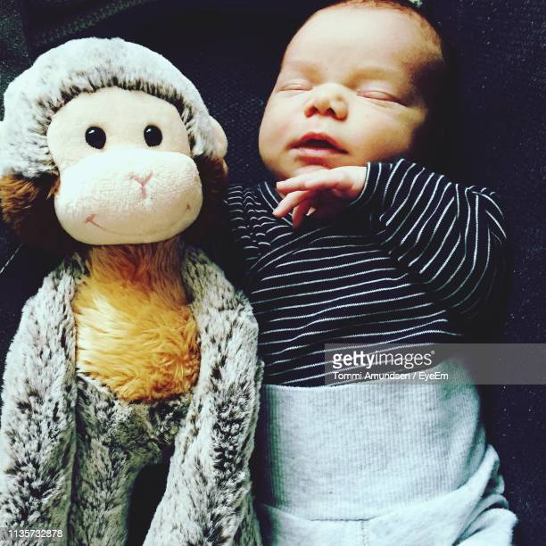 Close-Up Of Cute Baby Boy With Toy Sleeping At Home