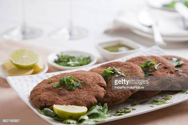 Close-up of cutlets arranged in plate