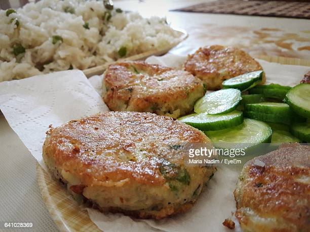 Close-Up Of Cutlets Served In Plate