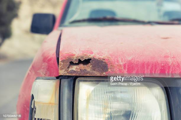 close-up of damaged car - rusty old car stock pictures, royalty-free photos & images