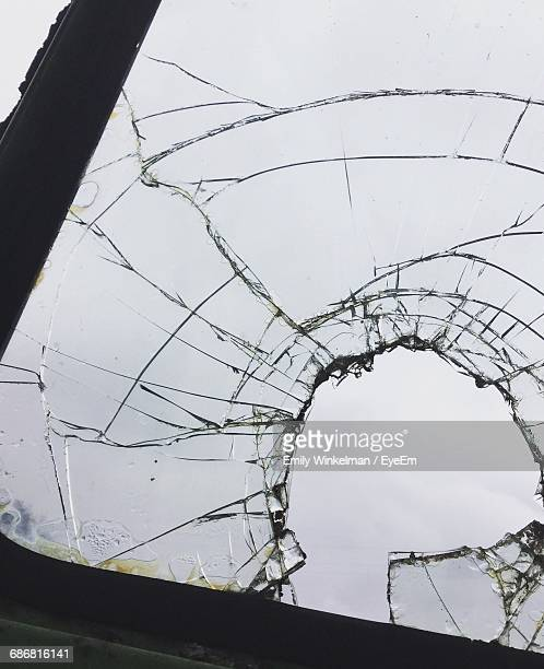 Close-Up Of Damaged Glass Of Car