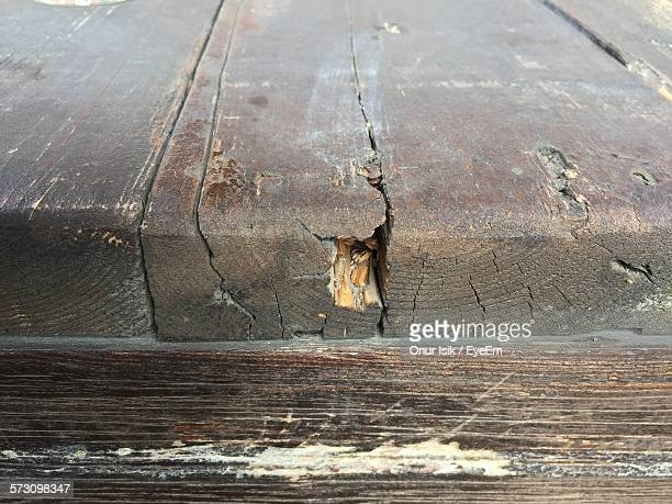 Close-Up Of Damaged Wooden Table