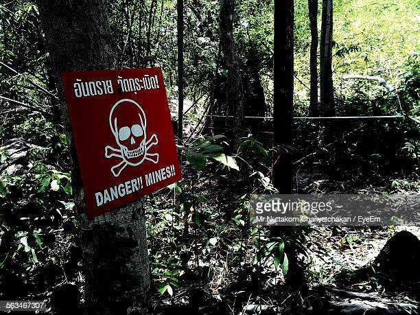 Close-Up Of Danger Sign In Forest
