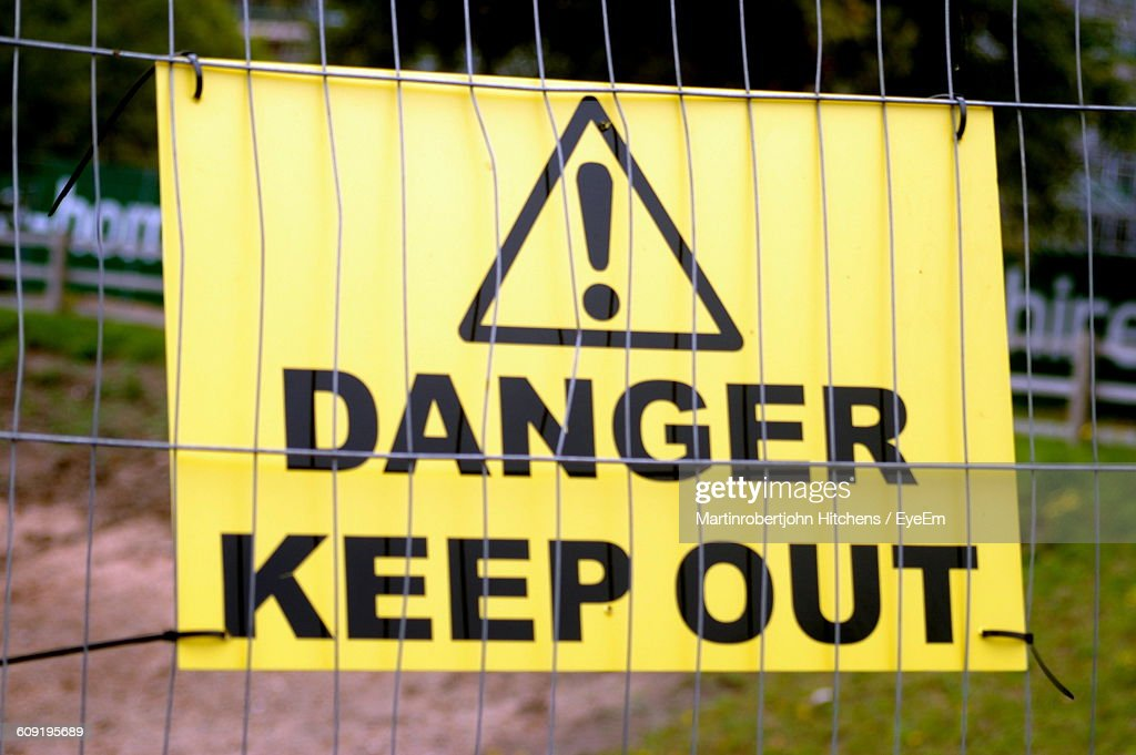Close-Up Of Danger Signboard : Stock Photo