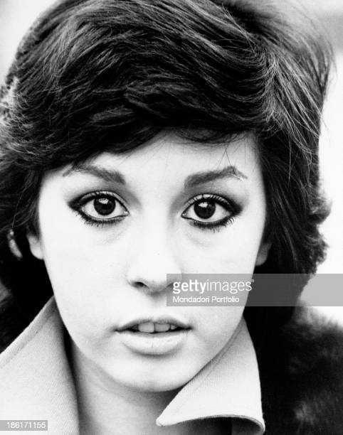 Closeup of Daniela Goggi's face like her sister Loretta the Italian singer and actress Daniela is known as a child prodigy as she debuted at the age...