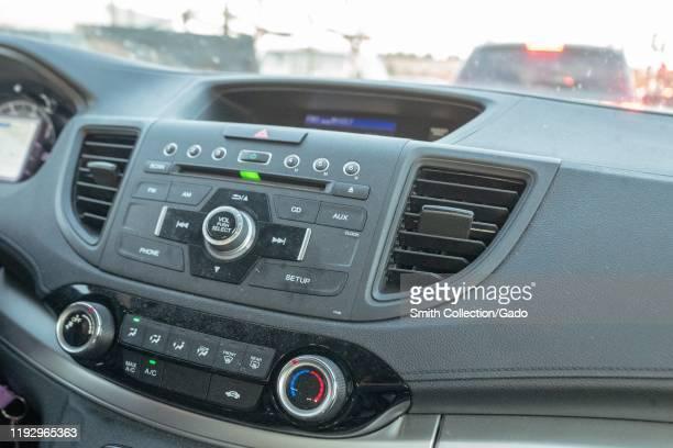 Close-up of dashboard of a Honda automobile in traffic, San Ramon, California, November 25, 2019.