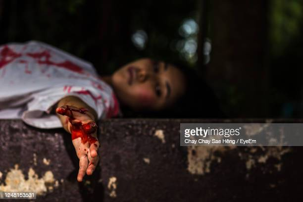 close-up of dead woman - murder stock pictures, royalty-free photos & images