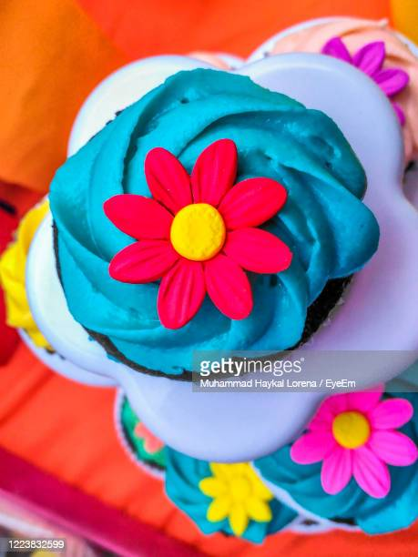 close-up of decorated cupcakes. - lorena day stock pictures, royalty-free photos & images