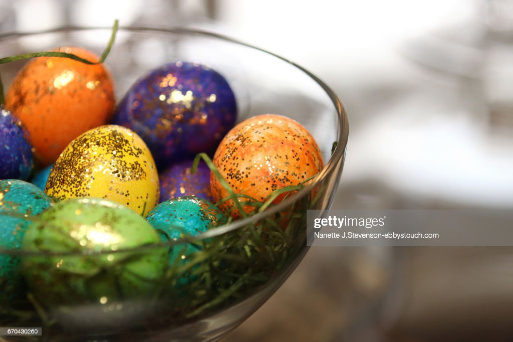 Closeup of Decorated Eggs : Stock Photo
