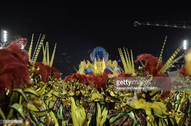 close-up of decorations at night - carnaval rio photos et images de collection