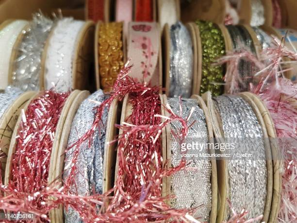 close-up of decorations in market - ribbon sewing item stock pictures, royalty-free photos & images