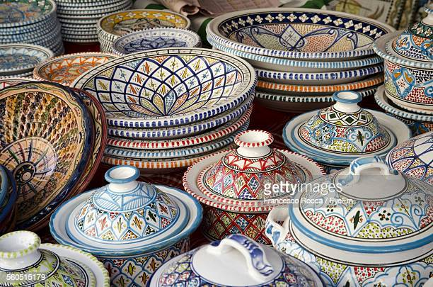 Close-Up Of Decorative Ceramic Bowls For Sale In Market