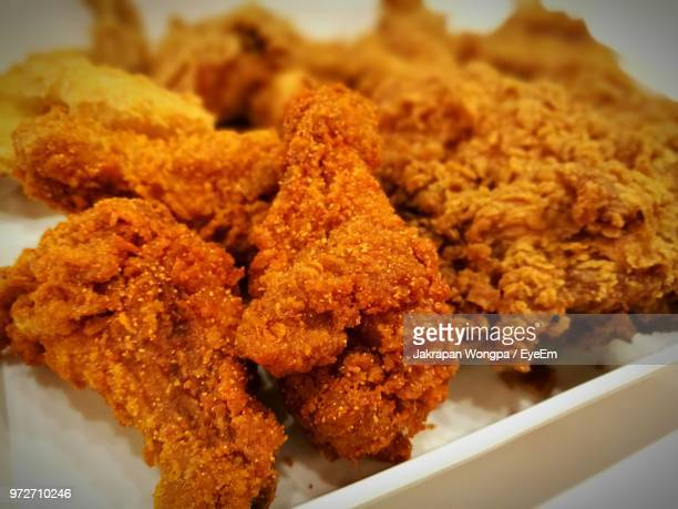 close-up of deep fried chickens served in plate - fried chicken stock photos and pictures