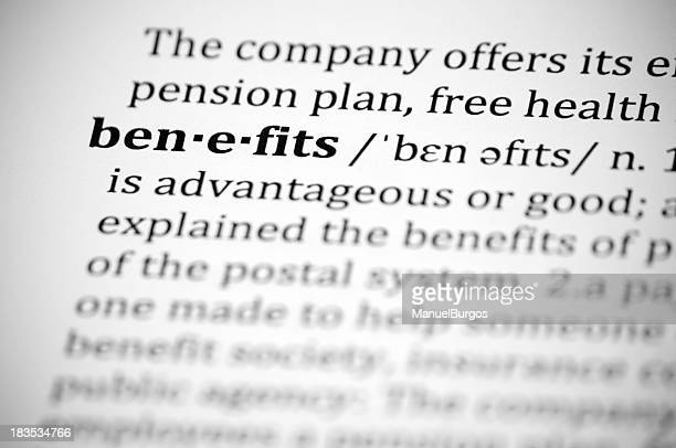 Close-up of definition of word Benefits in dictionary