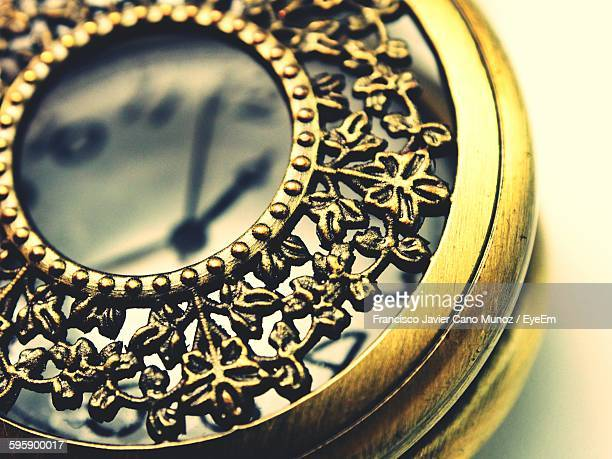 Close-Up Of Design On Antique Pocket Watch