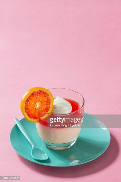 Close-Up Of Dessert Against Pink Background