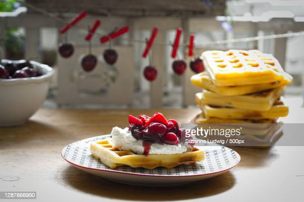 close-up of dessert in plate on table,germany - susanne ludwig stock pictures, royalty-free photos & images