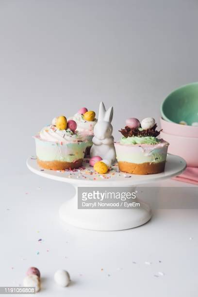 close-up of dessert on cakestand - easter cake stock pictures, royalty-free photos & images