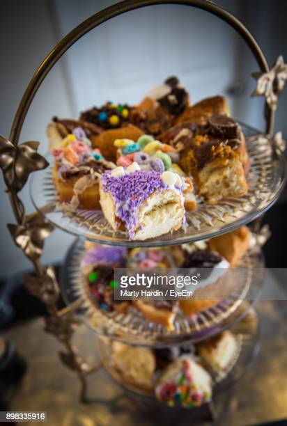 close-up of dessert on cakestand - marty hardin stock pictures, royalty-free photos & images