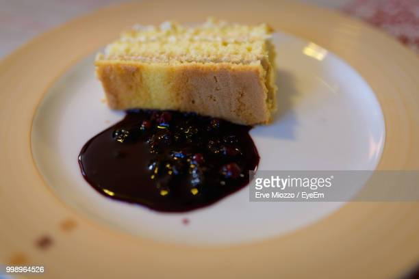 Close-Up Of Dessert Served In Plate On Table