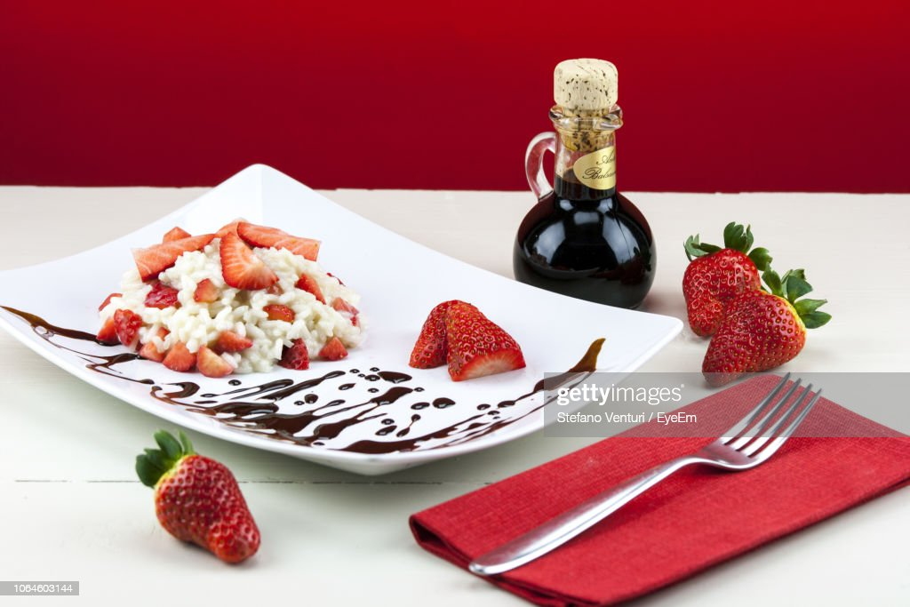 Closeup Of Dessert Served In Plate With Strawberries And ...