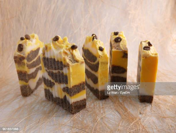 Close-Up Of Dessert Slices On Table