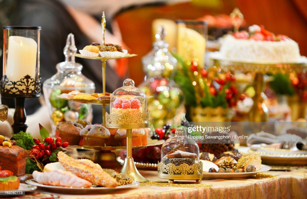 Close-Up Of Desserts On Table At Christmas Party : Stock Photo
