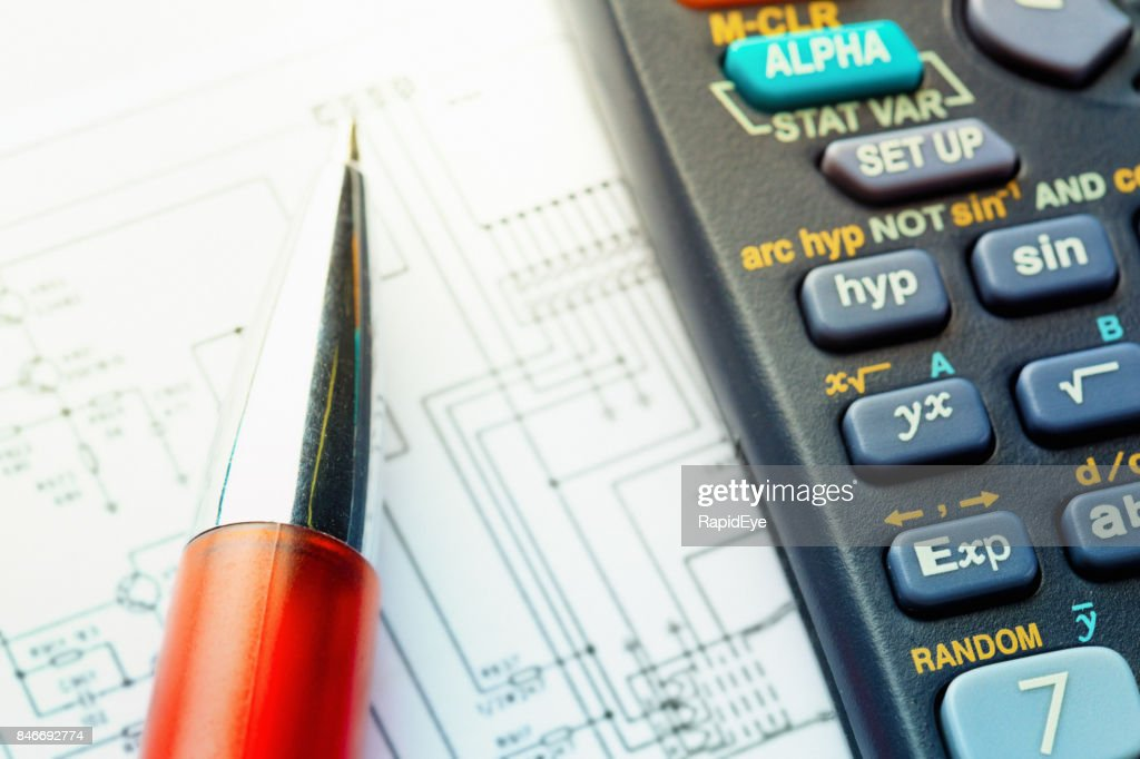Enjoyable Closeup Of Diagram With Calculator And Ballpoint Pen Stock Photo Wiring Digital Resources Minagakbiperorg