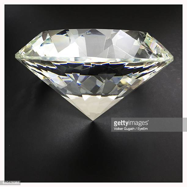 Close-Up Of Diamond Against Black Background