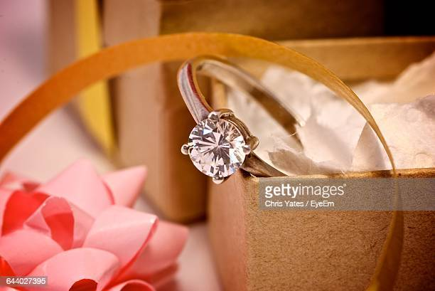 close-up of diamond ring - engagement ring box stock photos and pictures