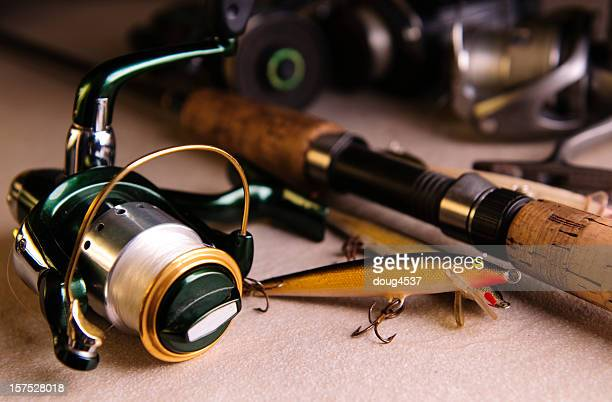 close-up of different fishing tackle - fishing tackle stock pictures, royalty-free photos & images